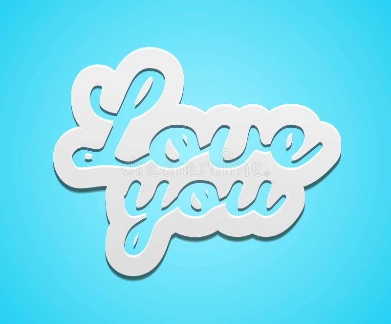 Amor simple usted divisa del texto ilustración del vector