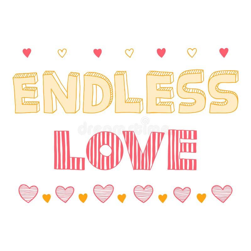 Amor sin fin, cita, cartel inspirado, ilustración del vector