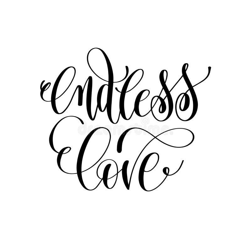 Amor sin fin - mano que pone letras a cita romántica stock de ilustración