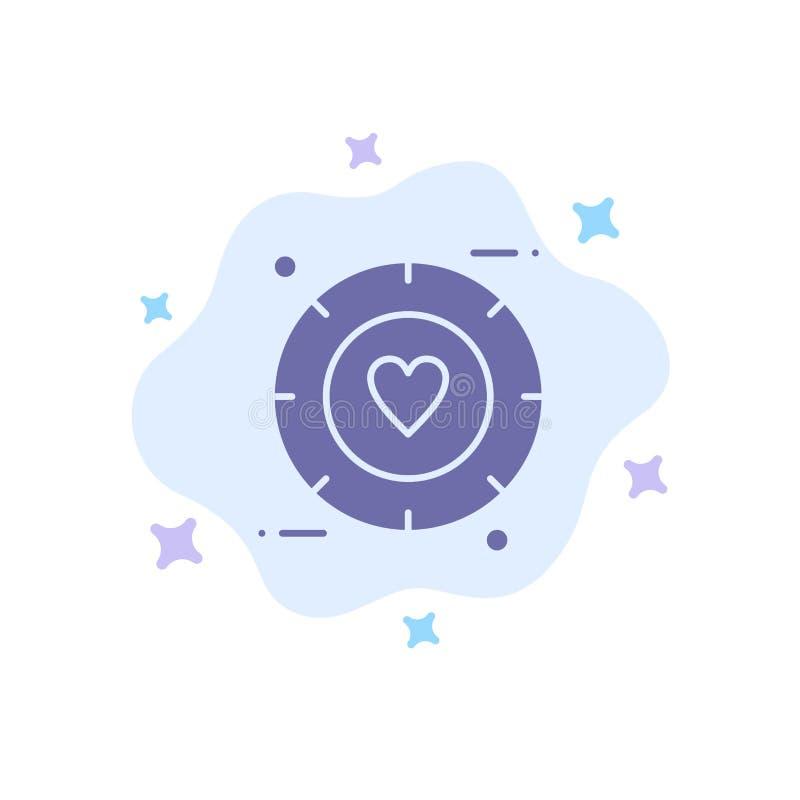 Amor, sinal, Valentim, ícone azul do casamento no fundo abstrato da nuvem ilustração royalty free