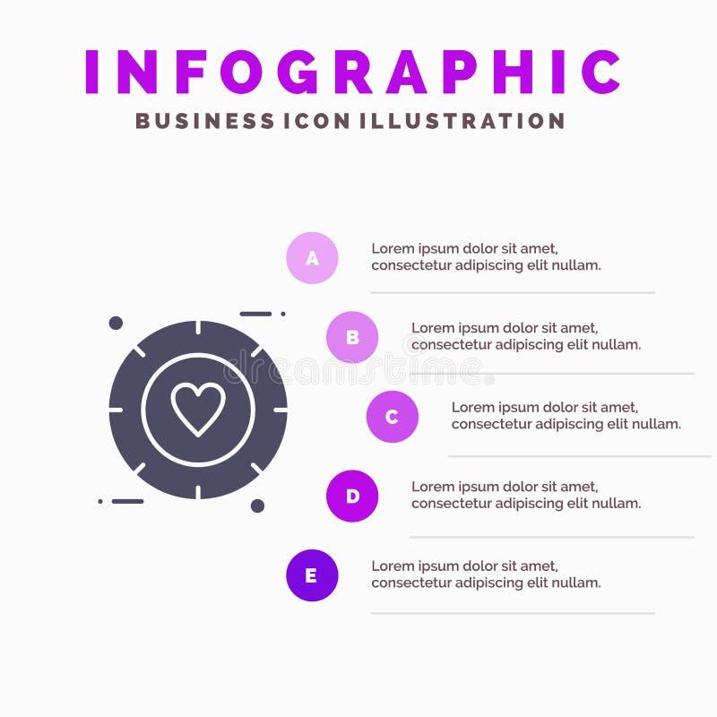 Amor, sinal, Valentim, fundo contínuo da apresentação das etapas de Infographics 5 do ícone do casamento ilustração royalty free