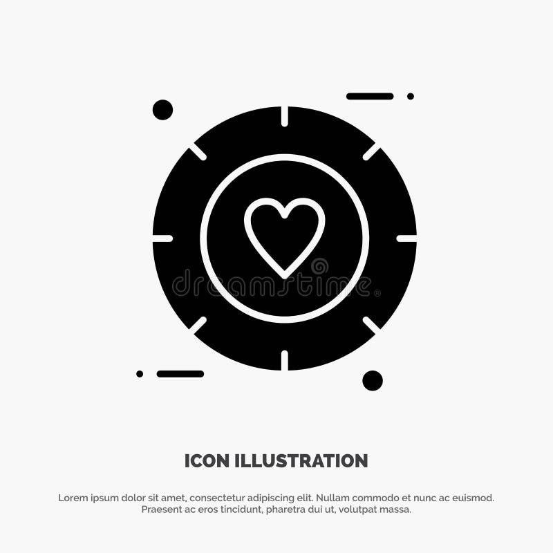 Amor, sinal, Valentim, vetor contínuo do ícone do Glyph do casamento ilustração do vetor