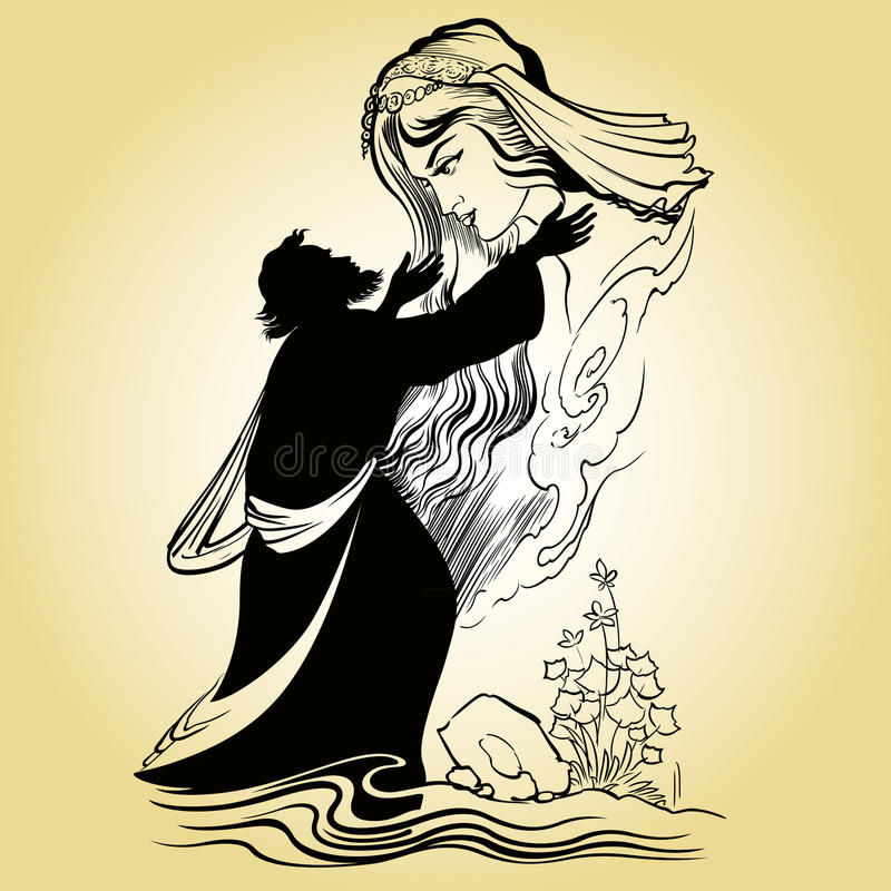 Amor soñador stock de ilustración