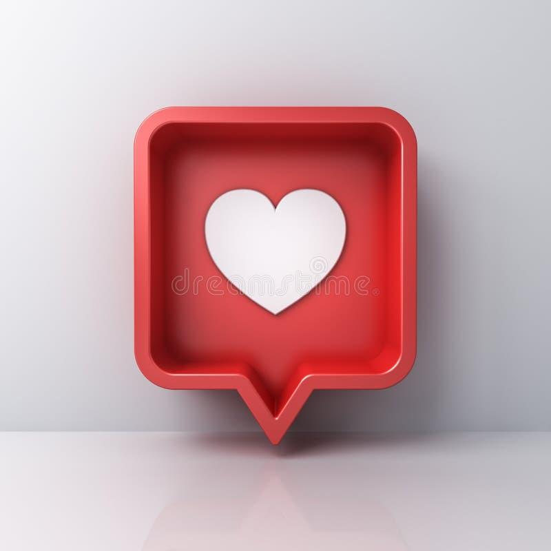 amor social de la notificación de los medios 3d como icono del corazón en el perno cuadrado redondeado rojo aislado en el fondo b stock de ilustración