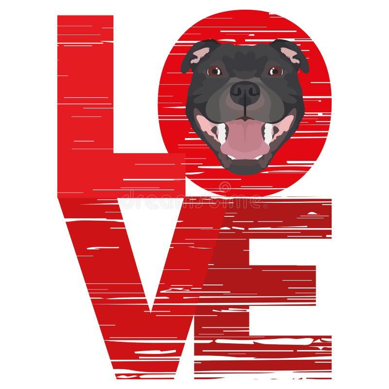 Amor Staffordshire bull terrier ilustração royalty free