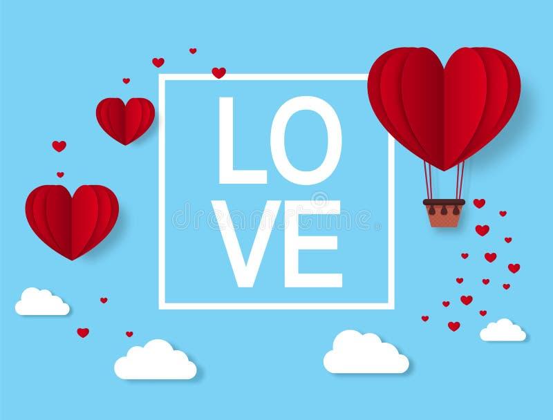 Amor Tarjeta de felicitación de día de San Valentín con los corazones cortados de papel Globo del aire caliente del corazón Vecto libre illustration