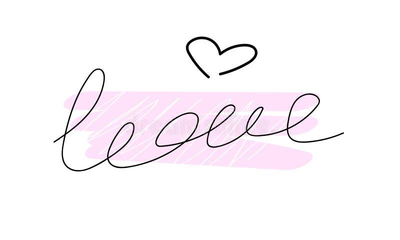 Amor Tarjeta linda con la inscripción stock de ilustración