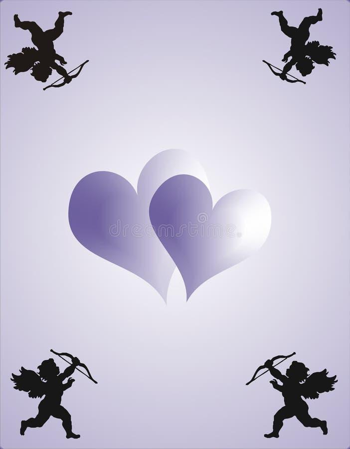 Amor und Innere auf violettem Hintergrund - Vektor vektor abbildung