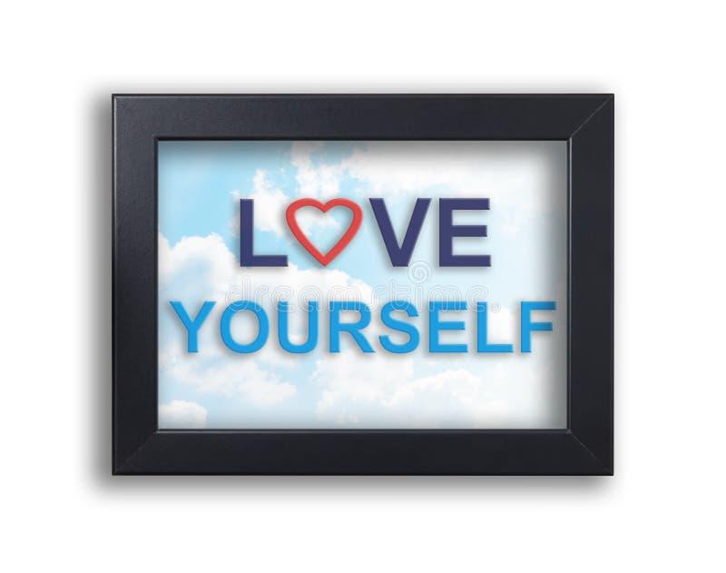 Amor usted mismo en bandera de las tarjetas del día de San Valentín del marco imagen de archivo libre de regalías