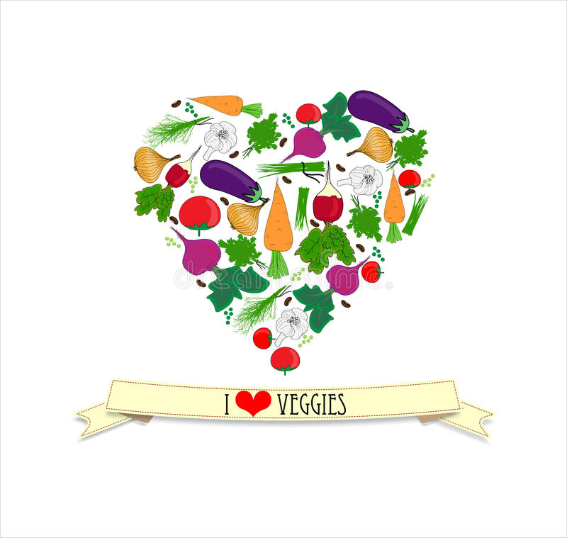 Amor veggy ilustração do vetor