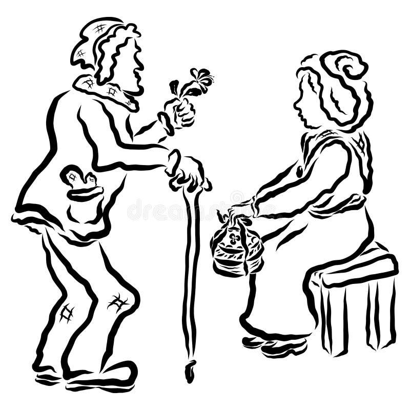 Amor verdadeiro ao fim da vida, das pessoas adultas e do romance ilustração stock