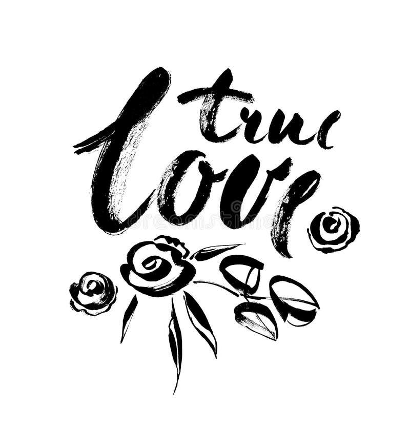 Amor verdadeiro Cartão do dia de Valentim com caligrafia Elementos desenhados mão do projeto ilustração stock