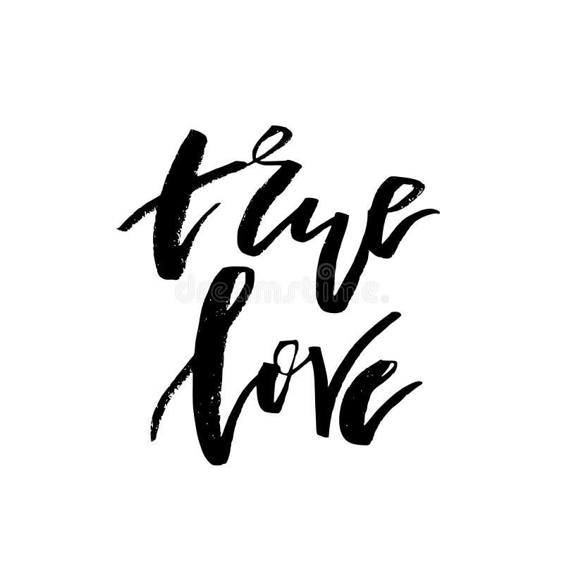 Amor verdadeiro - cartão feliz do dia de Valentim com texto da caligrafia em w ilustração royalty free