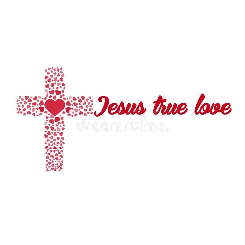 Amor verdadeiro de Jesus Cruz Coração Amor Ilustração do vetor ilustração stock