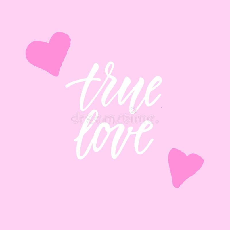 Amor verdadeiro! A frase moderna da caligrafia e a mão romântica tiradas rabiscam ilustração do vetor