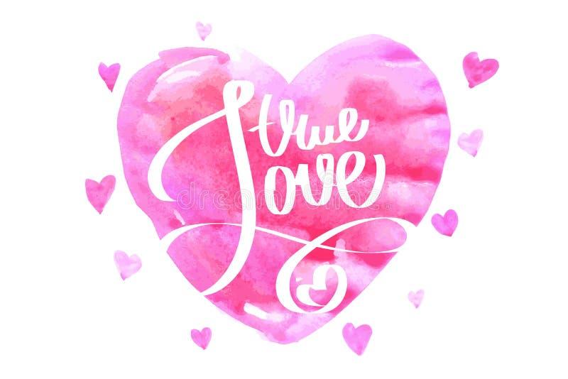 Amor verdadeiro Letterihg ilustração royalty free