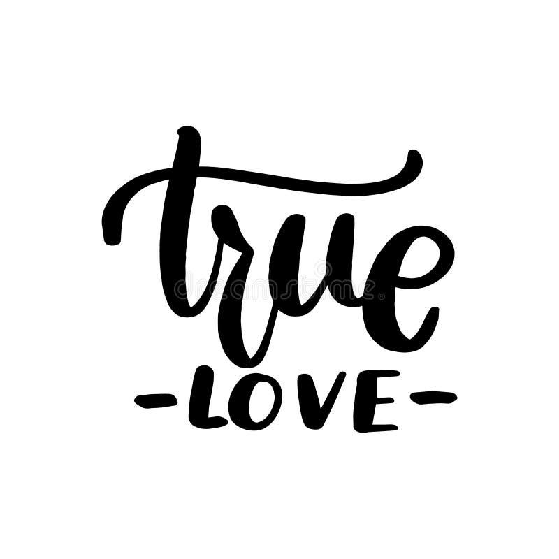 Amor verdadeiro que rotula o cartão ilustração do vetor