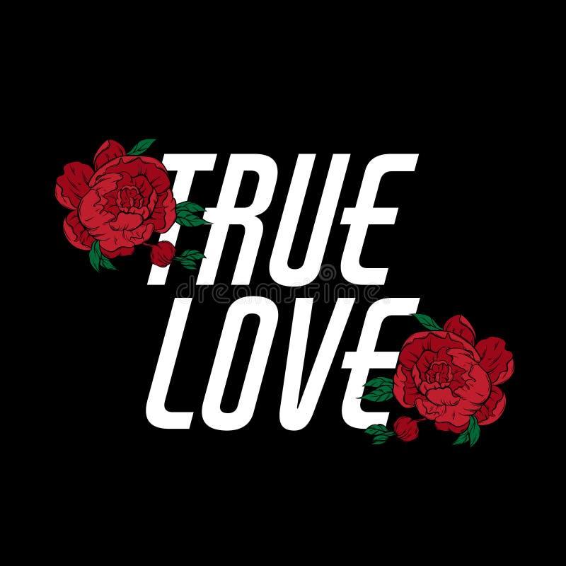 Amor verdadeiro Rotulação do vetor com as flores tiradas mão ilustração stock
