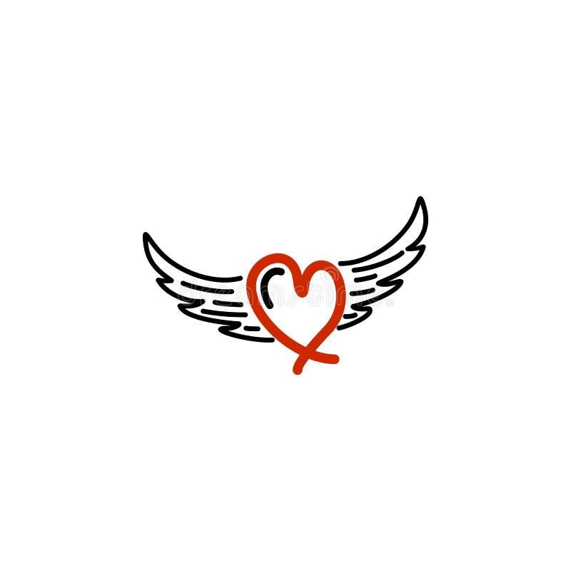Amor vermelho com logotipo da asa ilustração royalty free