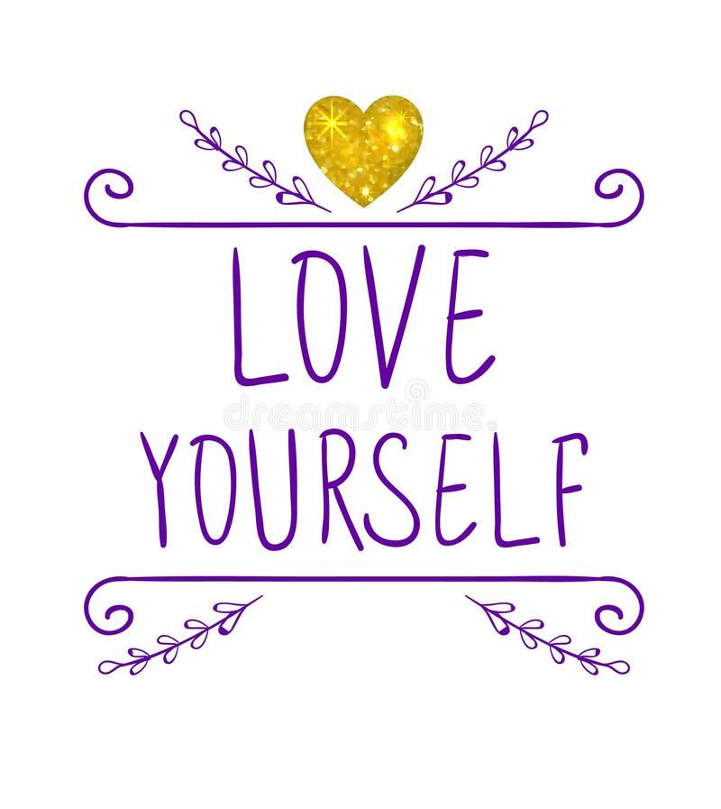 Amor você mesmo VECTOR letras escritas à mão e rabiscar o quadro com coração do ouro do brilho Palavras roxas ilustração stock