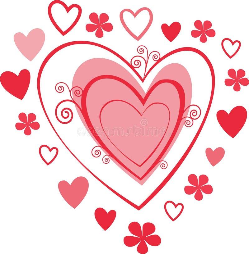 Amor y corazones stock de ilustración