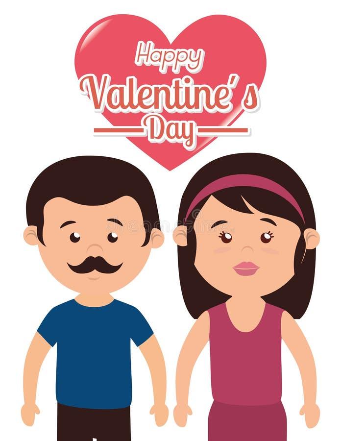 Amor y día de tarjetas del día de San Valentín ilustración del vector