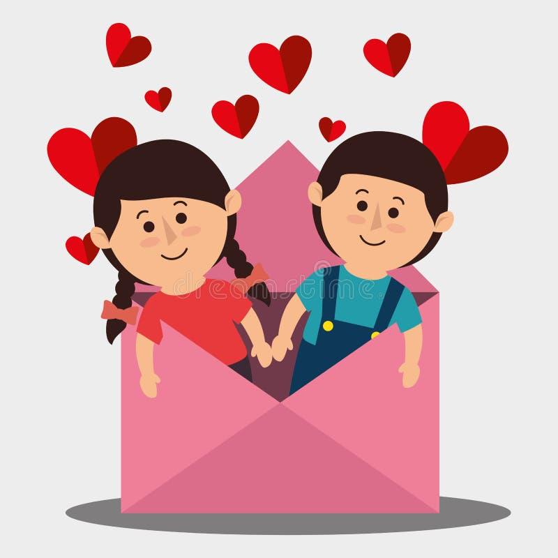 Amor y día de tarjetas del día de San Valentín stock de ilustración