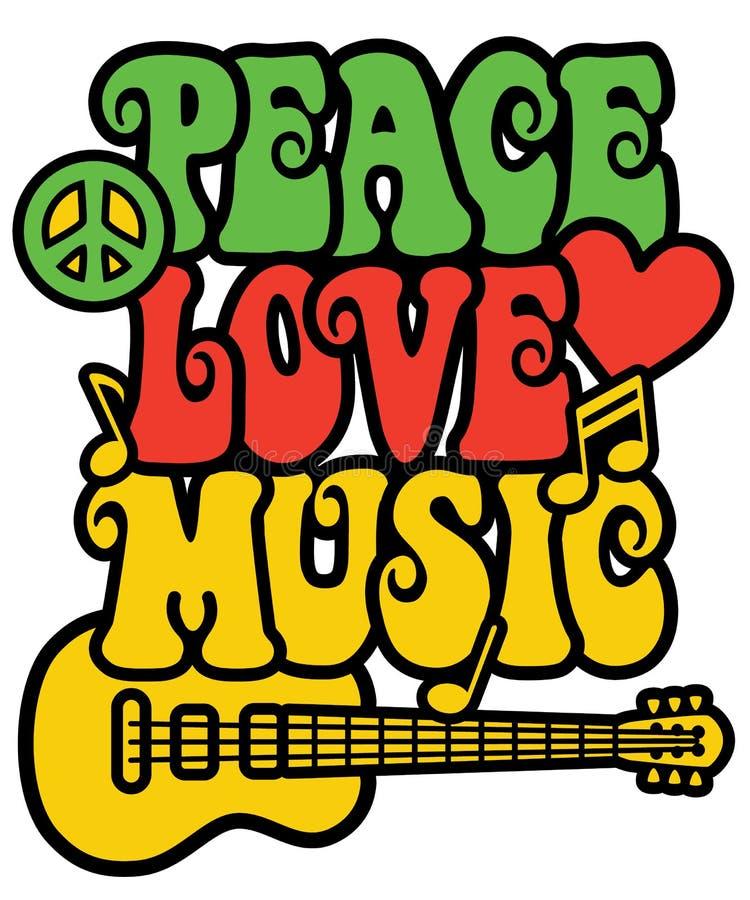 Amor y música de la paz en los colores de Rasta ilustración del vector