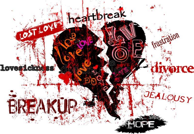 Amor y mal de amor perdidos stock de ilustración