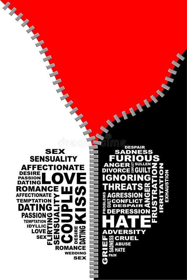 Amor y odio stock de ilustración
