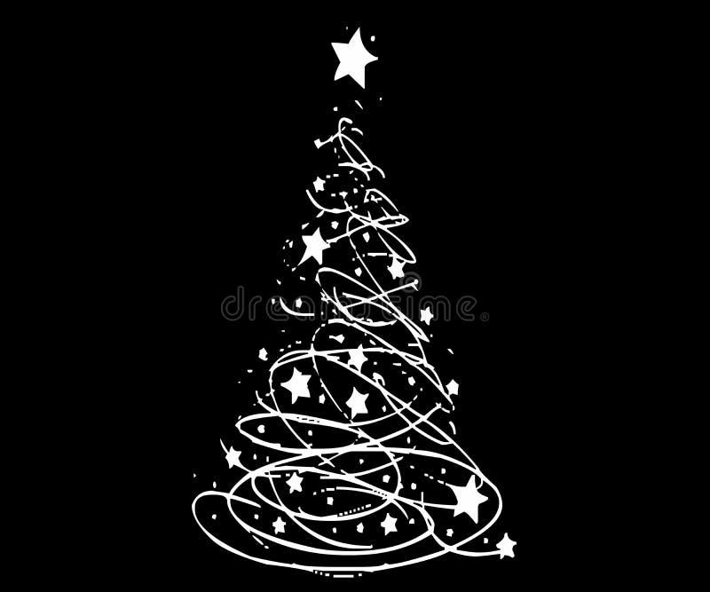 Amor y paz del árbol de navidad con los regalos ilustración del vector