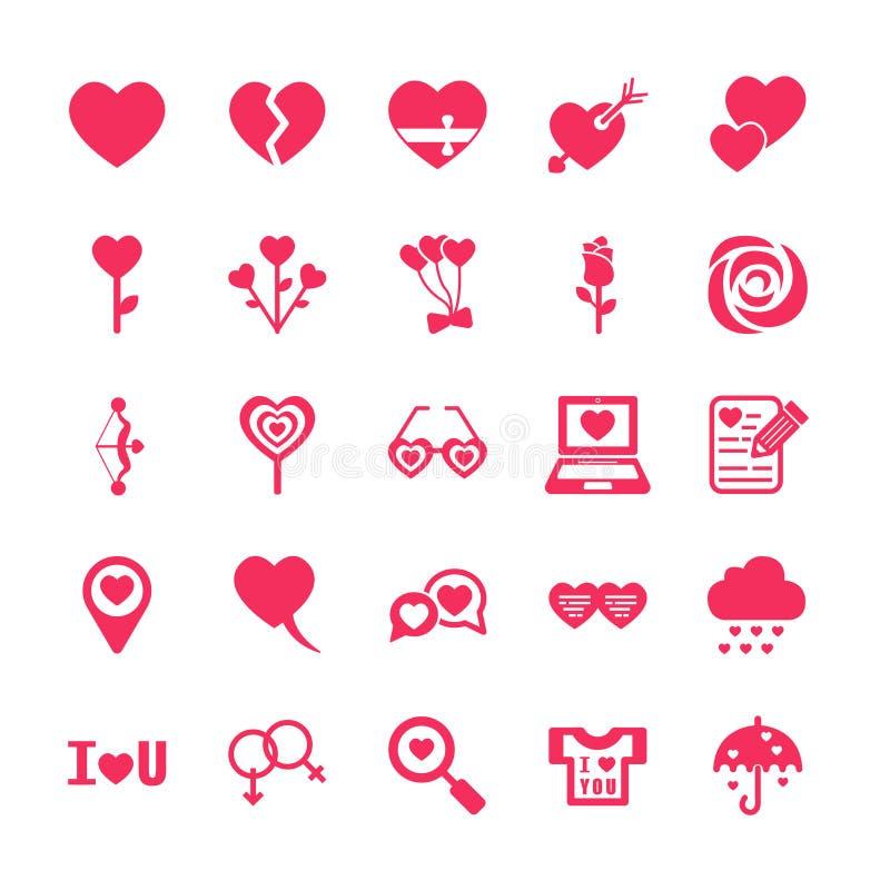 Amor y sistema del icono de la tarjeta del día de San Valentín stock de ilustración
