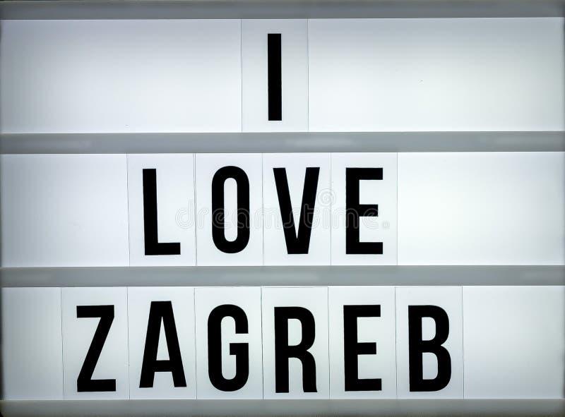 Amor Zagreb de la caja de luz i foto de archivo