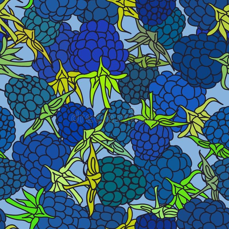 A amora-preta azul madura com verde deixa pettern sem emenda no fundo azul para o local, blogue, tela Vetor ilustração do vetor