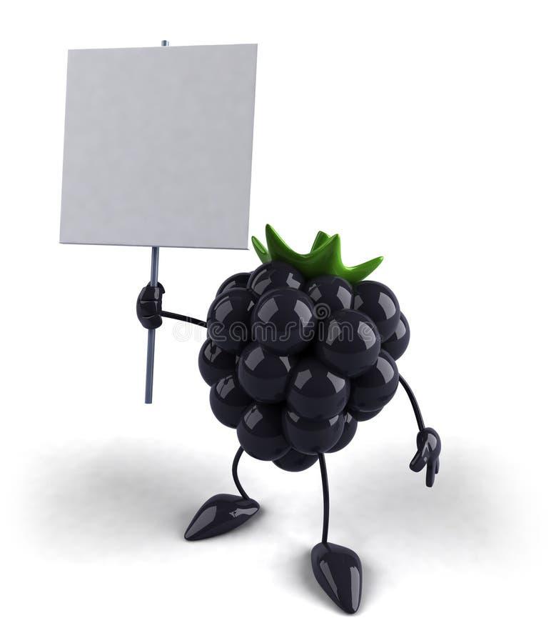 Amora-preta com um sinal em branco ilustração stock