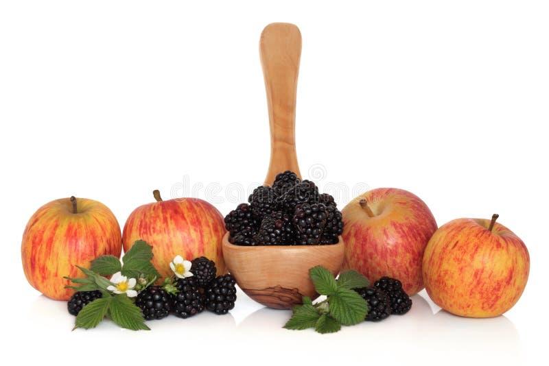 Amora-preta e fruta de Apple imagens de stock