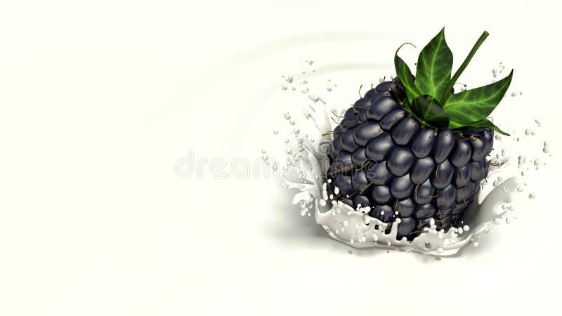 A amora-preta que cai no leite ilustração stock