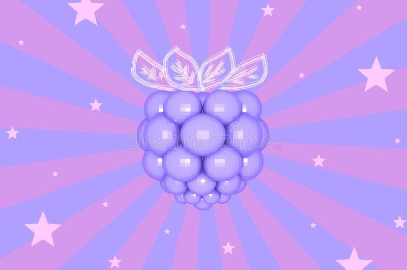 Amora-preta violeta em fundo listrado com ilustração das estrelas 3D ilustração do vetor