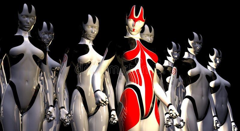 Amorce et soldats androïdes illustration de vecteur