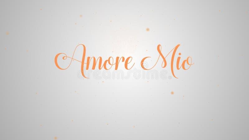 Amore εκατομμύριο που γράφει για το σχέδιο ευχετήριων καρτών Εορταστική διακόσμηση Πρότυπο πρόσκλησης Πορτοκαλιά επιγραφή στο φως απεικόνιση αποθεμάτων