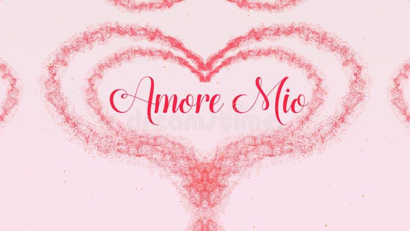 Amore εκατομμύρισσα ομολογία αγάπης Καρδιά ημέρας βαλεντίνου φιαγμένη από ρόδινο παφλασμό που απομονώνεται στο ανοικτό ροζ υπόβαθ στοκ φωτογραφία