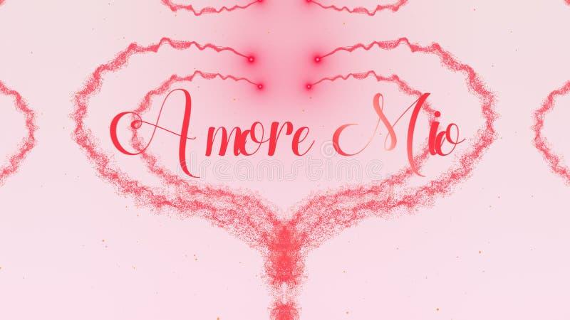 Amore εκατομμύρισσα ομολογία αγάπης Καρδιά ημέρας βαλεντίνου φιαγμένη από ρόδινο παφλασμό που απομονώνεται στο ανοικτό ροζ υπόβαθ στοκ φωτογραφίες