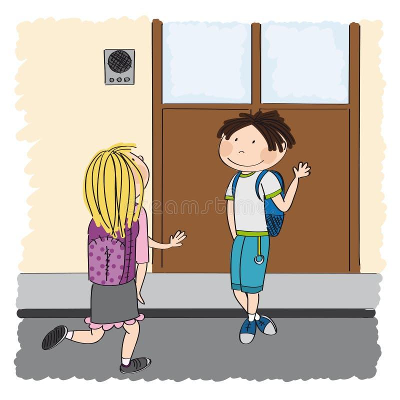 Amore adolescente Giovane scolaro che incontra il suo compagno di scuola, gir biondo illustrazione vettoriale