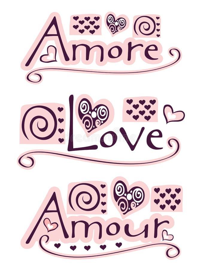 Amore, amor, amour ilustração royalty free