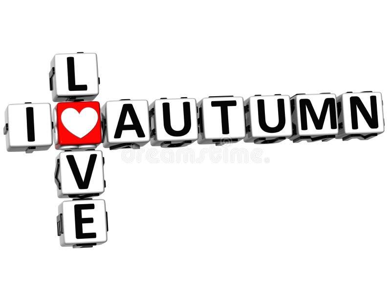 amore Autumn Crossword di 3D I illustrazione di stock