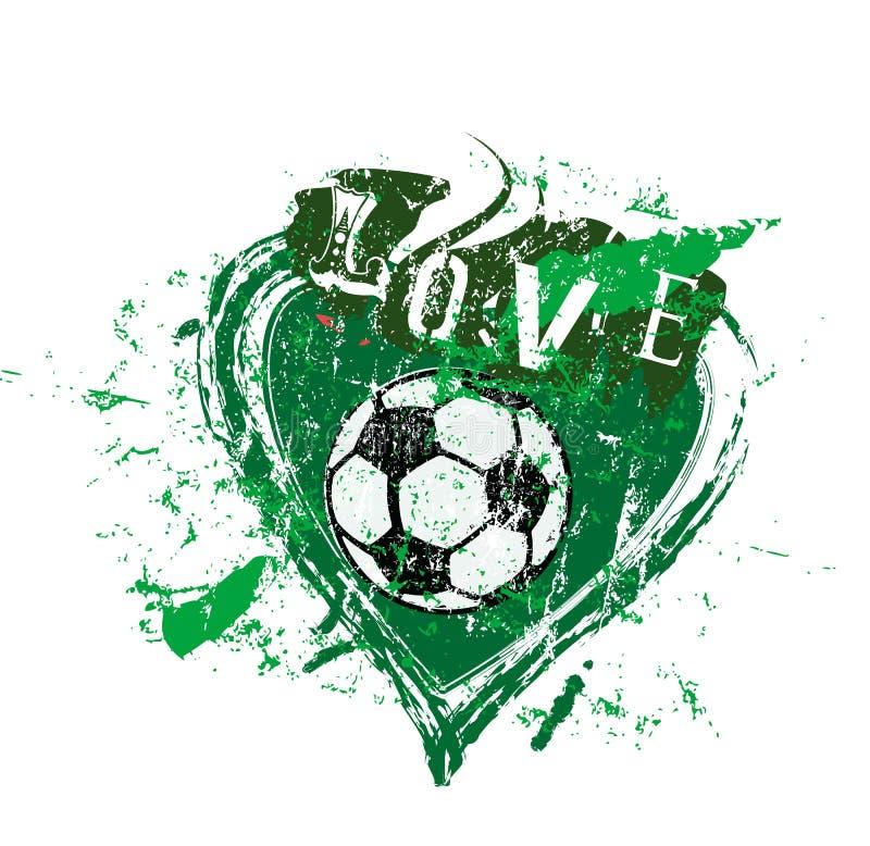 Amore a calcio, simbolo con cuore e pallone da calcio, vettore del grung royalty illustrazione gratis