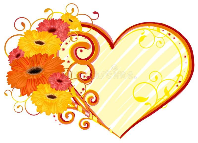 Amore, cuore della gerbera illustrazione di stock