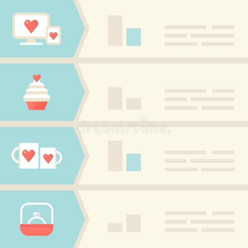 Amore, datazione, elementi di Infographic di relazioni illustrazione di stock