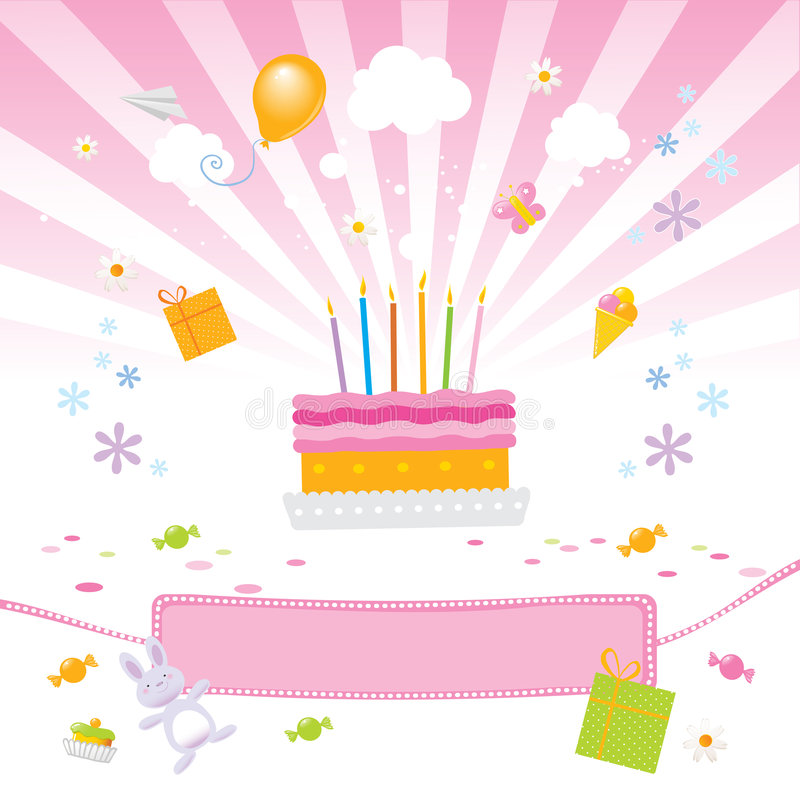 Amore dei bambini esso torta di compleanno illustrazione vettoriale