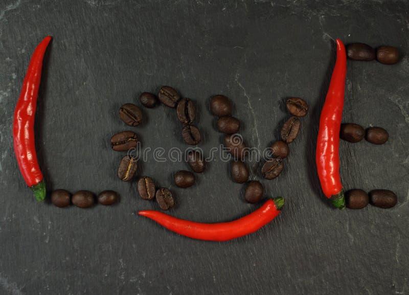 Amore del caffè del peperoncino rosso immagini stock